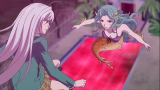 Moka is kicking a mermaid's ass