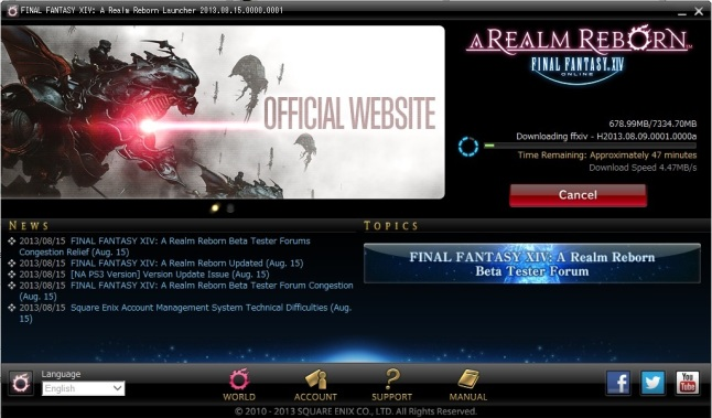 Downloading patches for FFXIV :)
