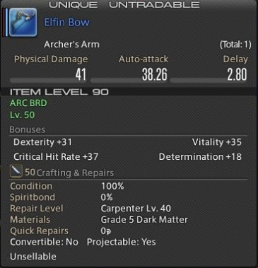 Final Fantasy XIV - Elfin Bow